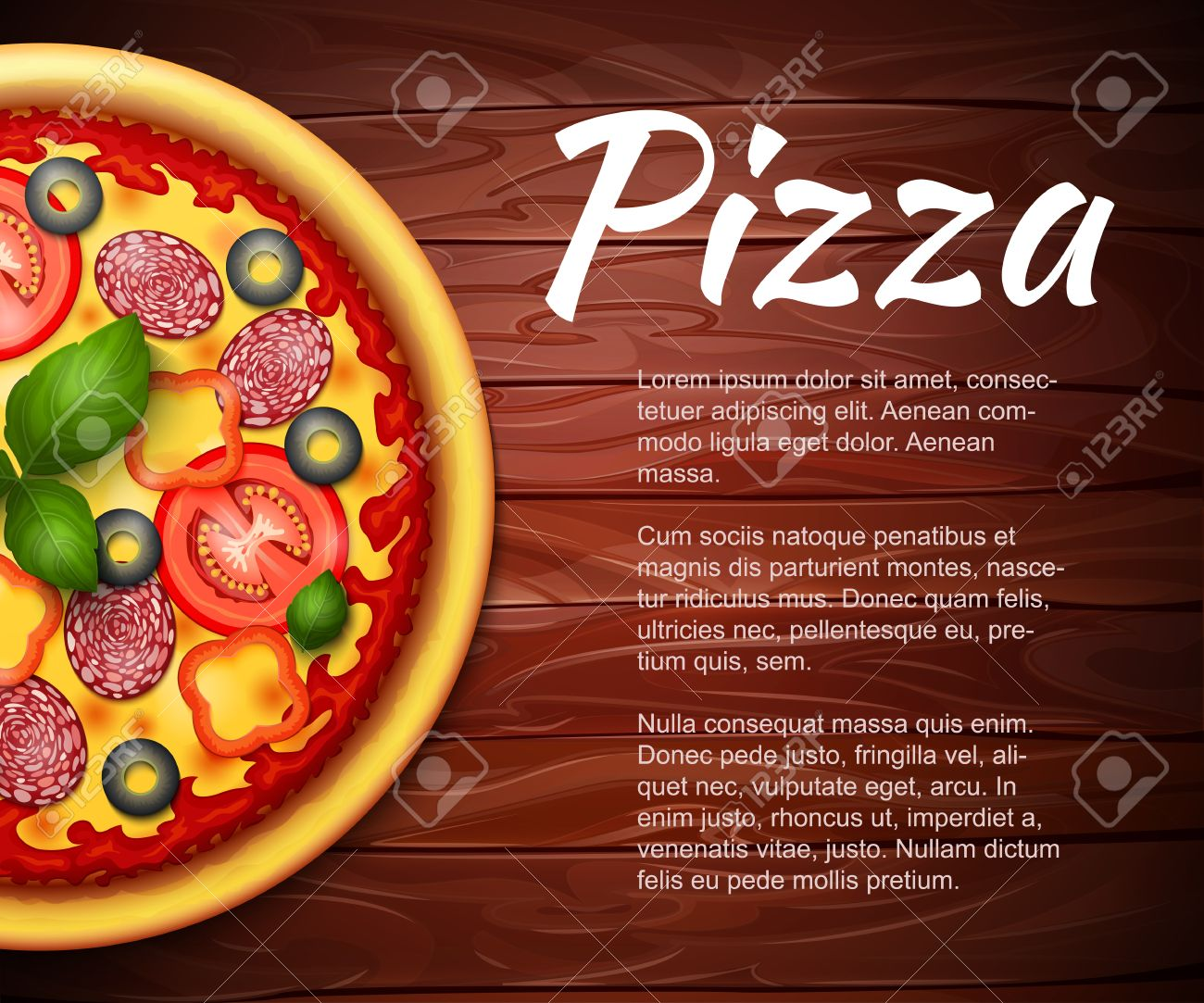 Realistic Pizza Recipe Or Menu Vector Background With Tomatoes And Pepperoni On Wooden Table