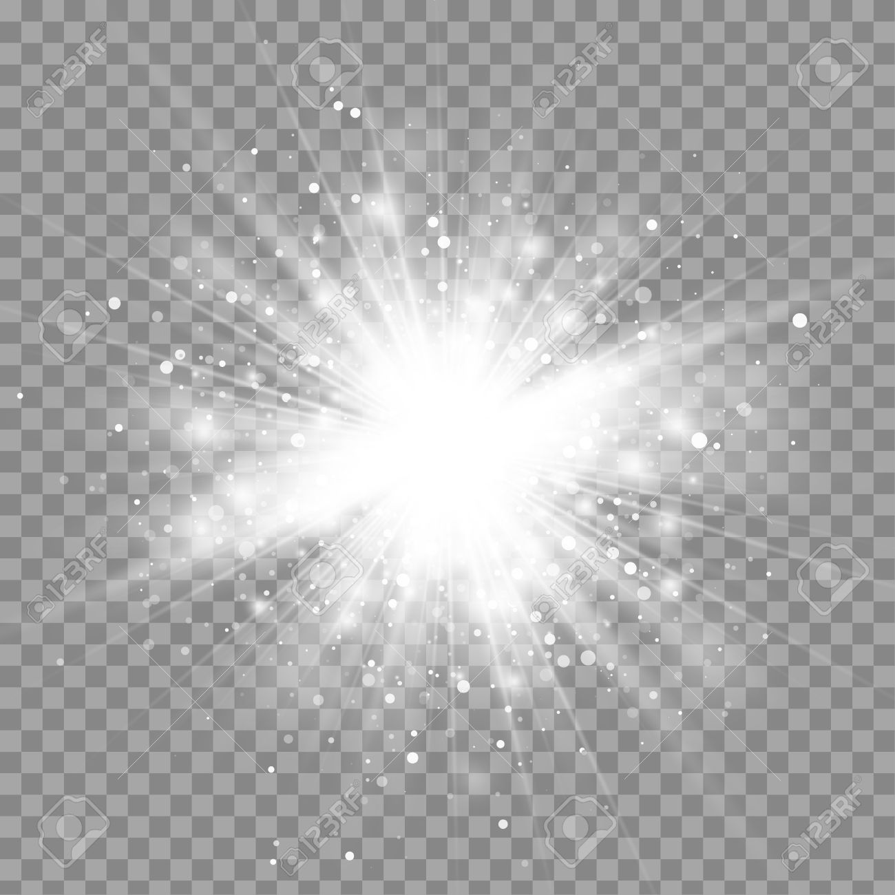 vector magic white rays glow light effect isolated on transparent
