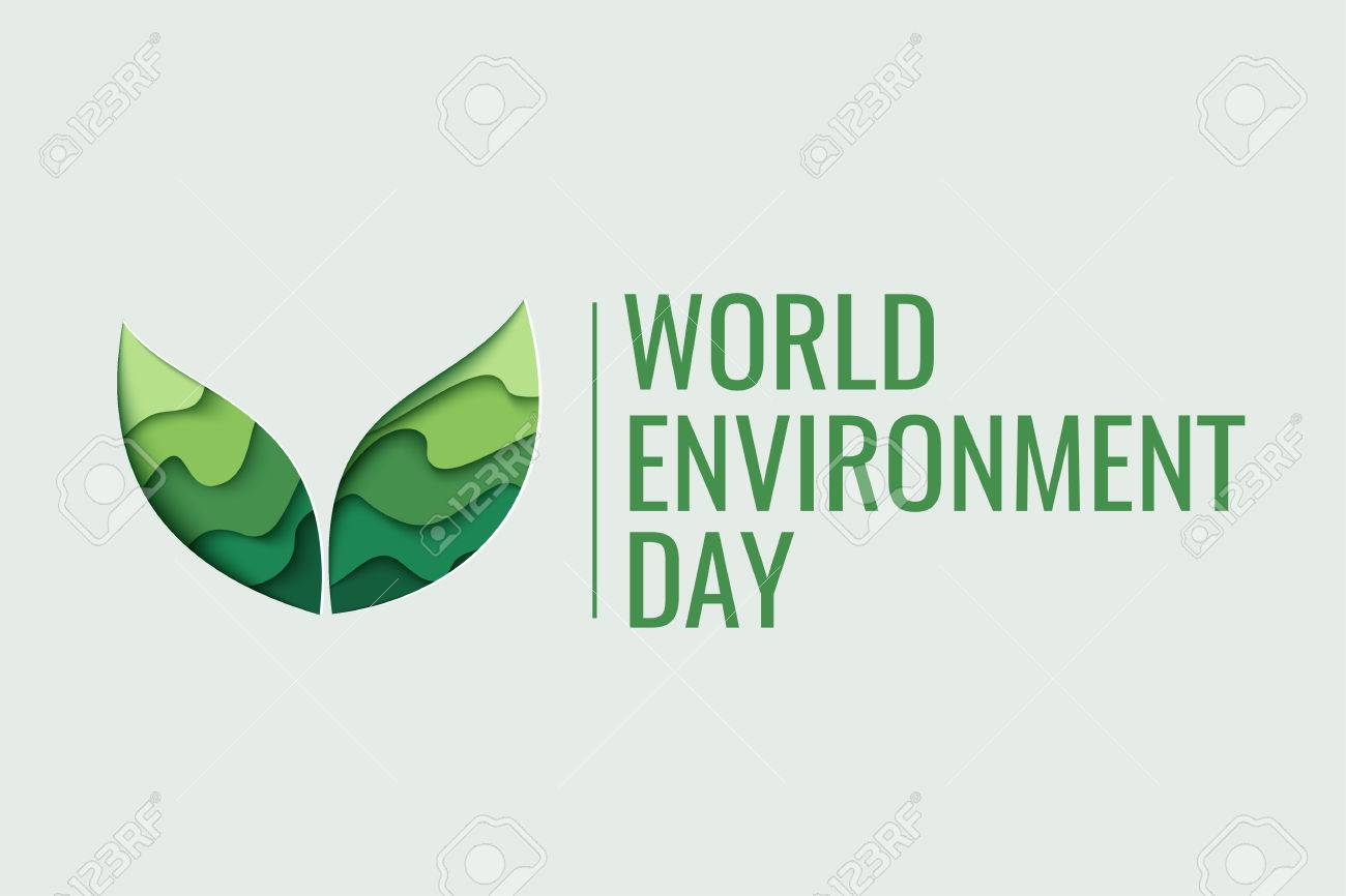 World Environment day concept. 3d paper cut eco friendly design. Vector illustration. Paper carving layer green leaves shapes with shadow - 78682022