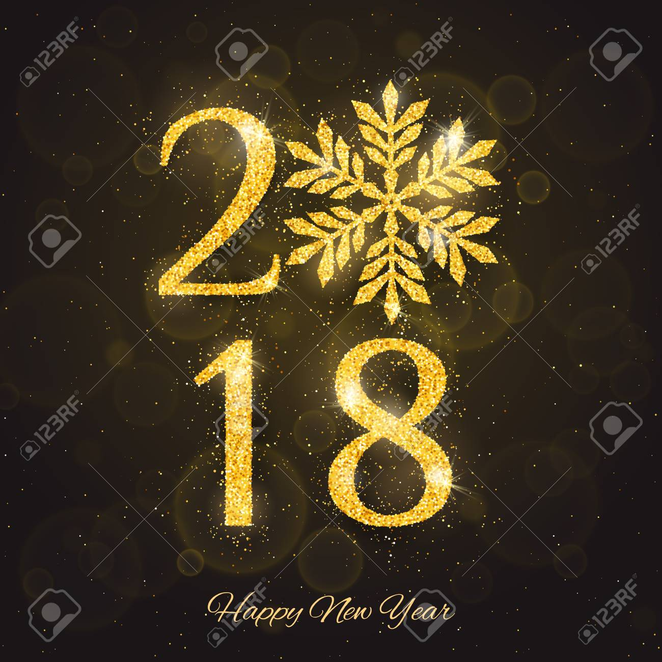 stock photo vector 2018 happy new year and merry christmas greeting card template with sparkling glitter golden textured snowflake