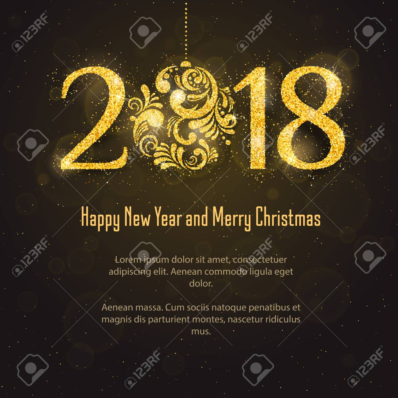 Vector 2018 Happy New Year And Merry Christmas Greeting Card Stock
