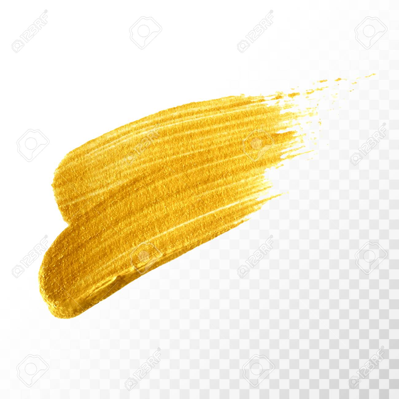 Gold Hand Drawn Paint Brush Stroke Isolated On Transparent