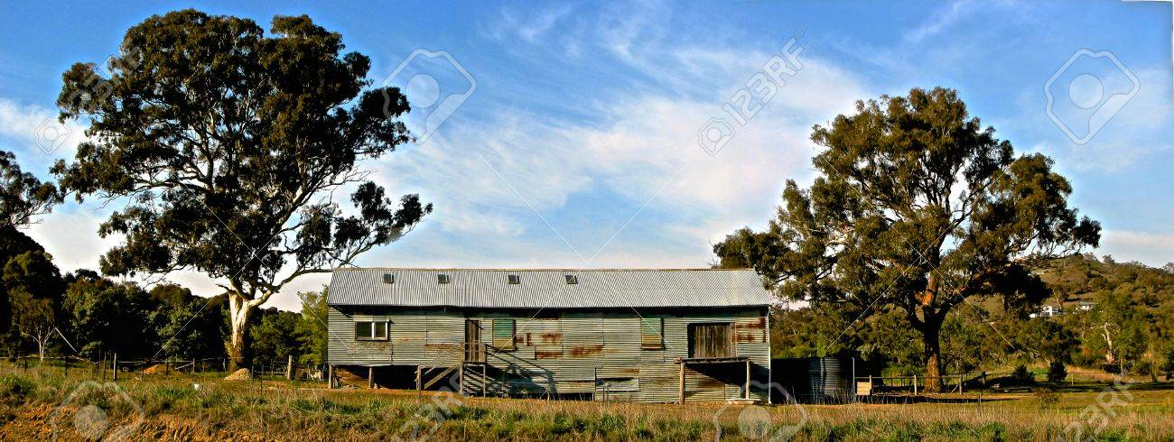 Old Australian tin sheep shed in the outback Stock Photo - 19299224