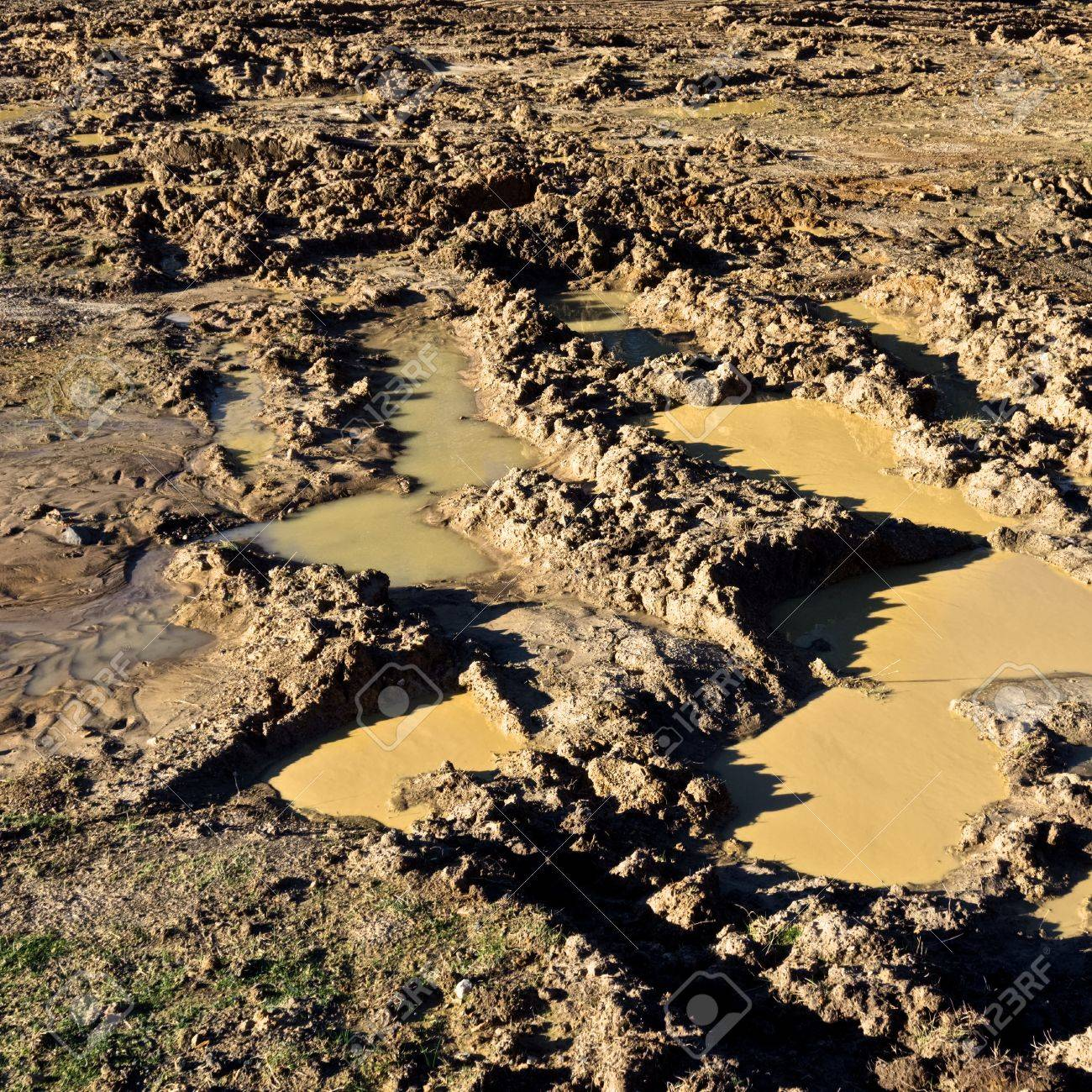 very muddy track left by four wheel drive vehicle Stock Photo - 21017846