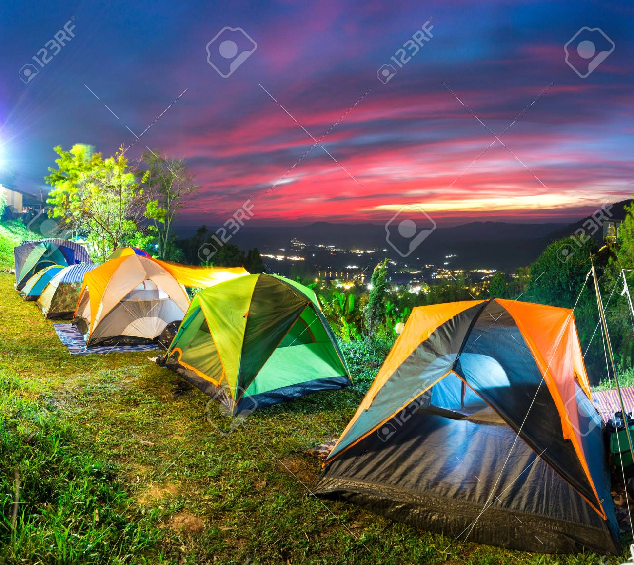 Camping And Tent On Top Of Mountain In Beautiful Sunset Time Stock Photo Picture And Royalty Free Image Image 74683111