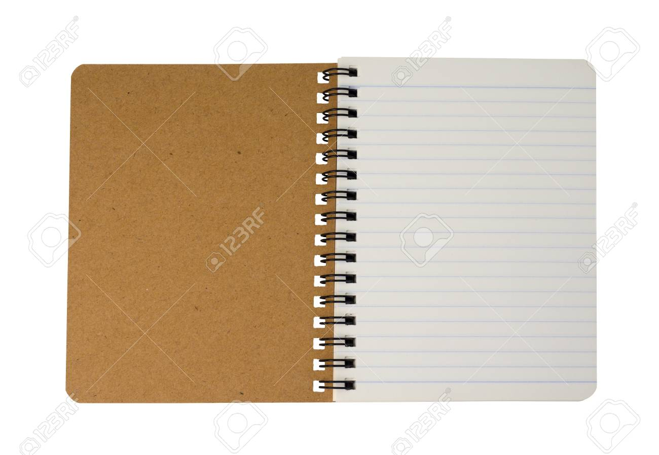 Top view of brown spiral notebook isolated on white background. (This has clipping path) - 120463646