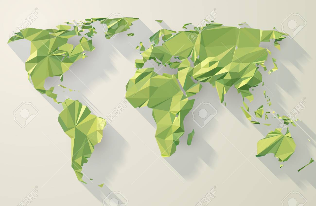 Low Poly World Map Stock Vector   87849759