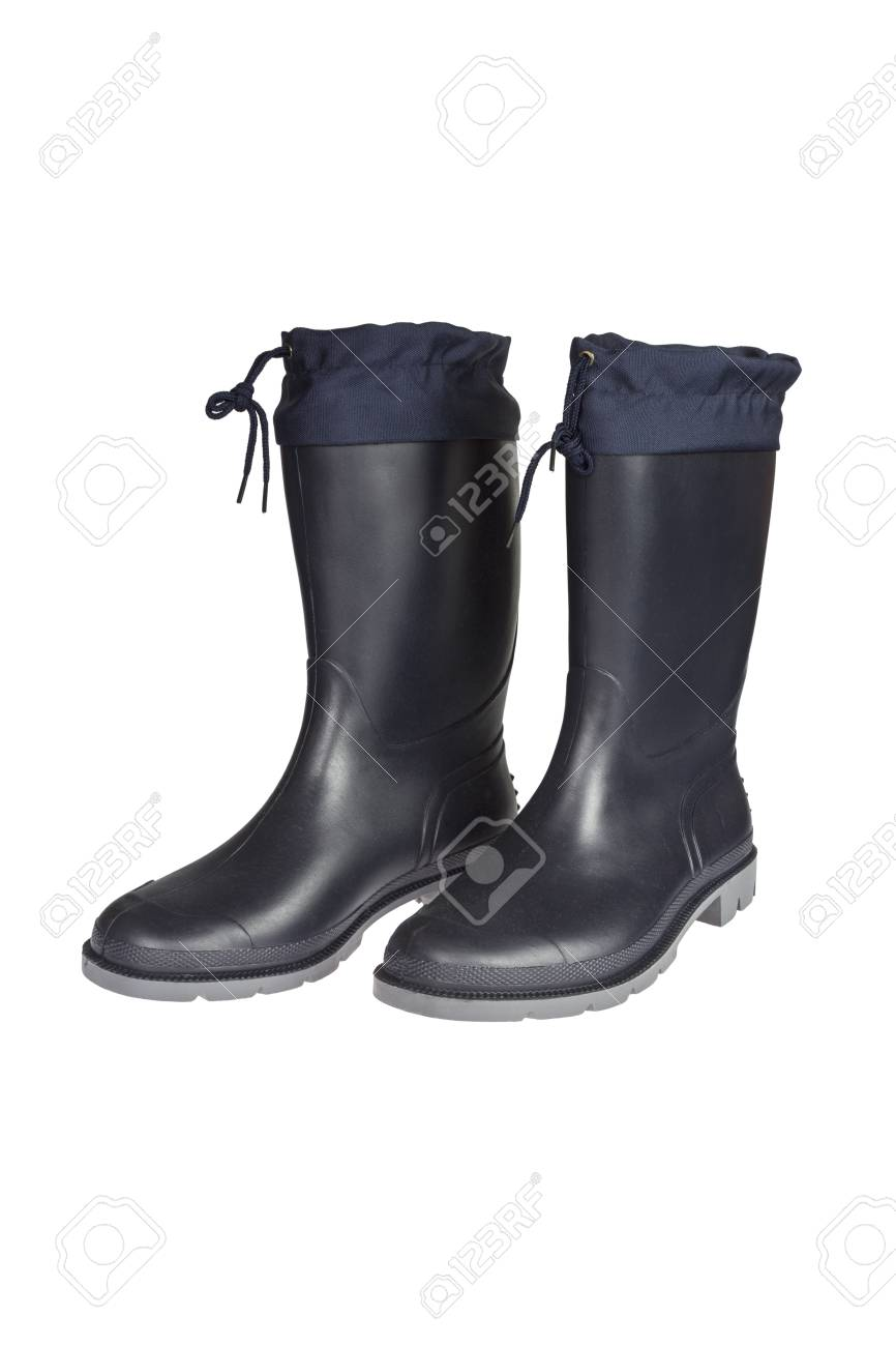 New Dark Blue Rubber Boots Isolated On