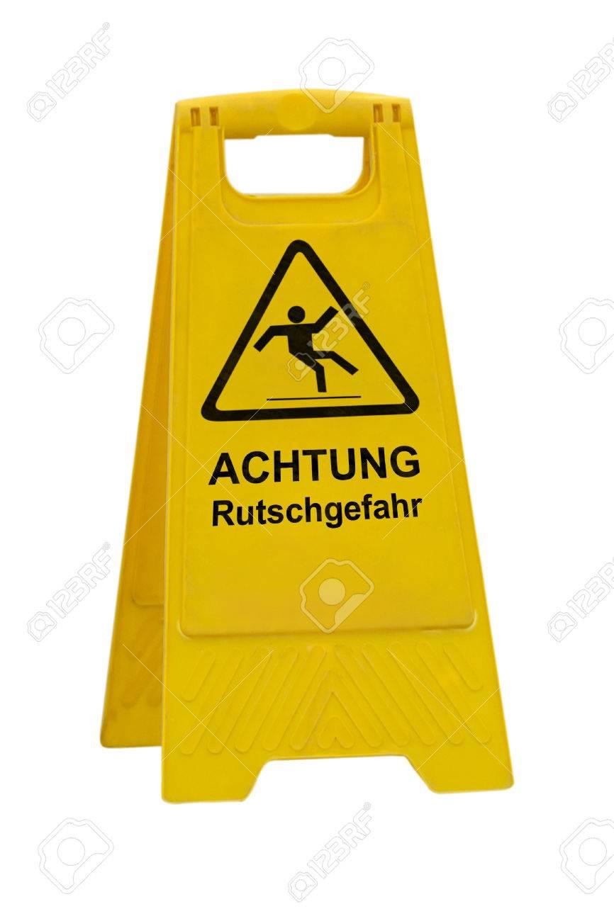archivio fotografico giallo achtung rutschgefahr attenzione tedesco scivoloso pavimento bagnato segno isolato su sfondo bianco