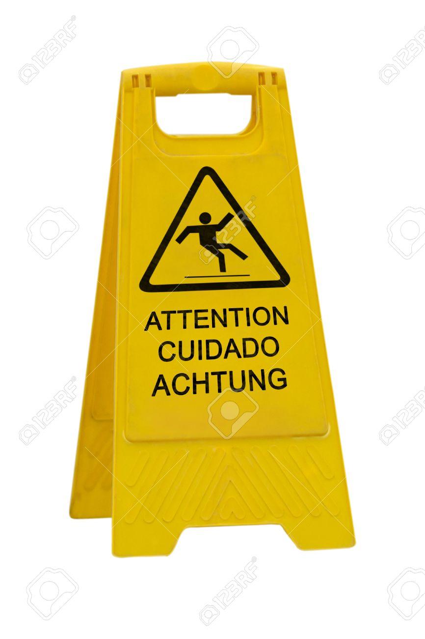 Gelb Vorsicht Rutschigen Nassen Boden Zeichen In Englisch