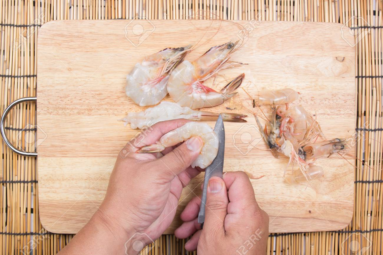 Chef Cooking Raw Shrimp With Knife Cooking Tempura Udon Concept