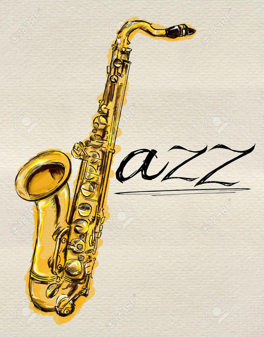 Jazz Saxophone Painting Stock Photo - 24497682