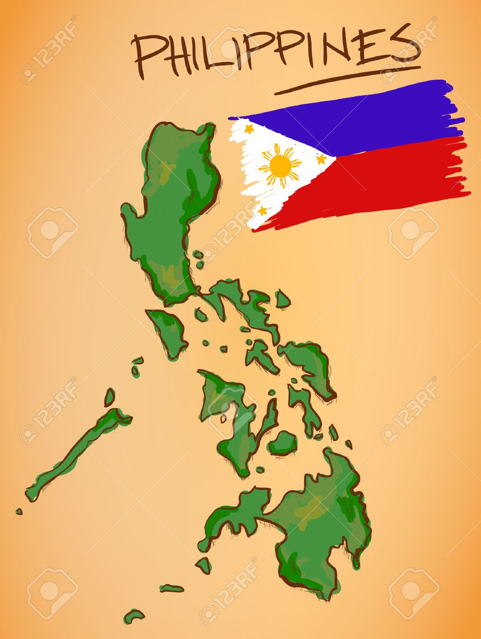 Philippines Map And National Flag Vector Royalty Free Cliparts ...
