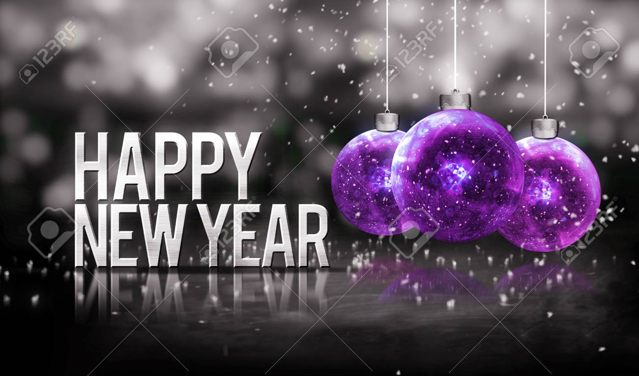 Happy New Year Hanging Baubles Purple Bokeh Beautiful 3D Grayscale ...