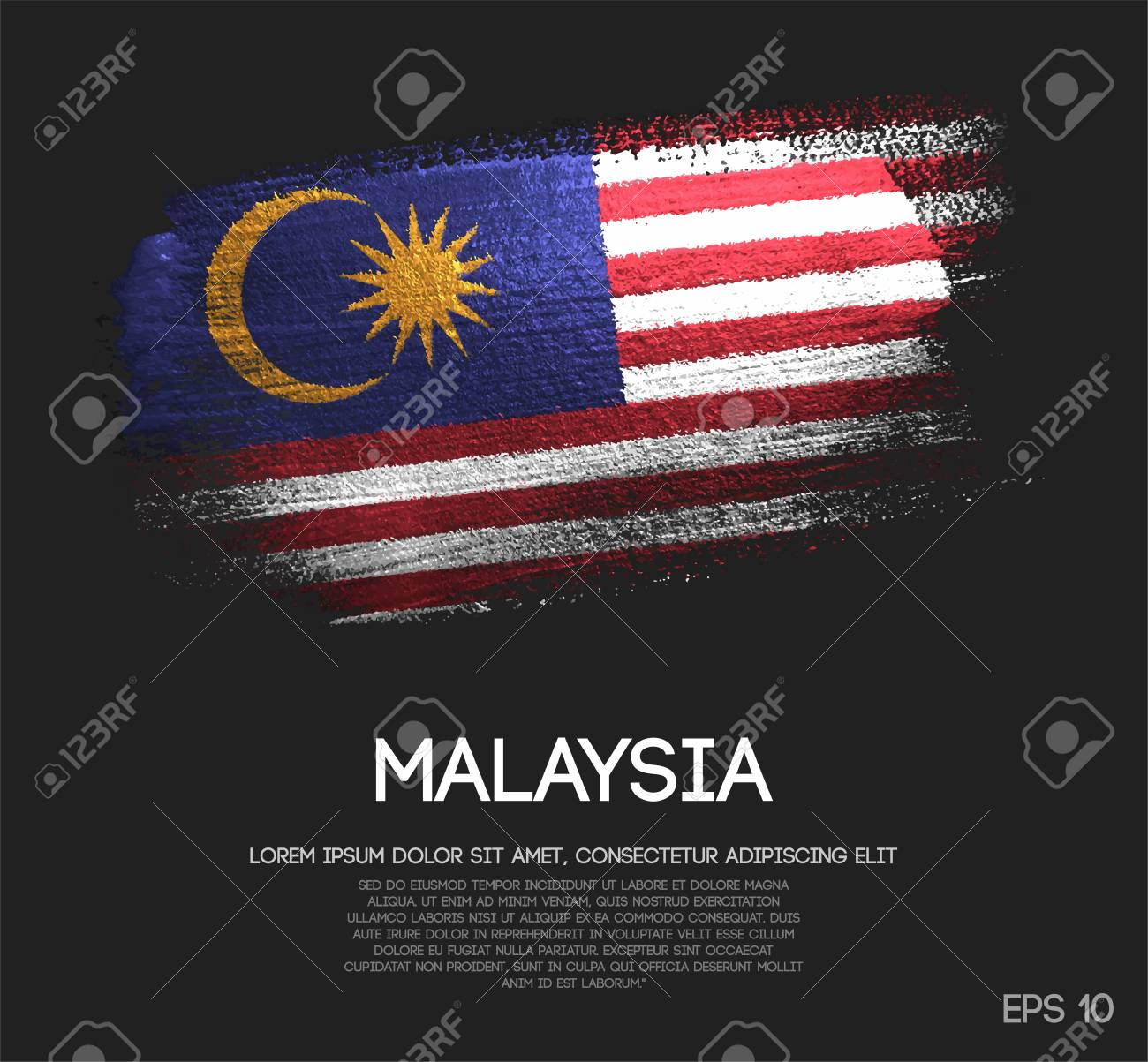 Malaysia Flag Made of Glitter Sparkle Brush Paint Vector - 105595656