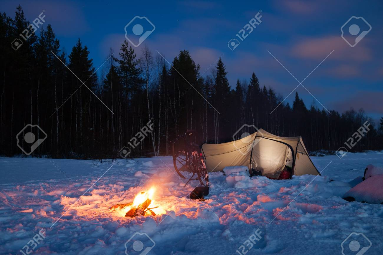 campsite in sweden in the winter time - 51253628