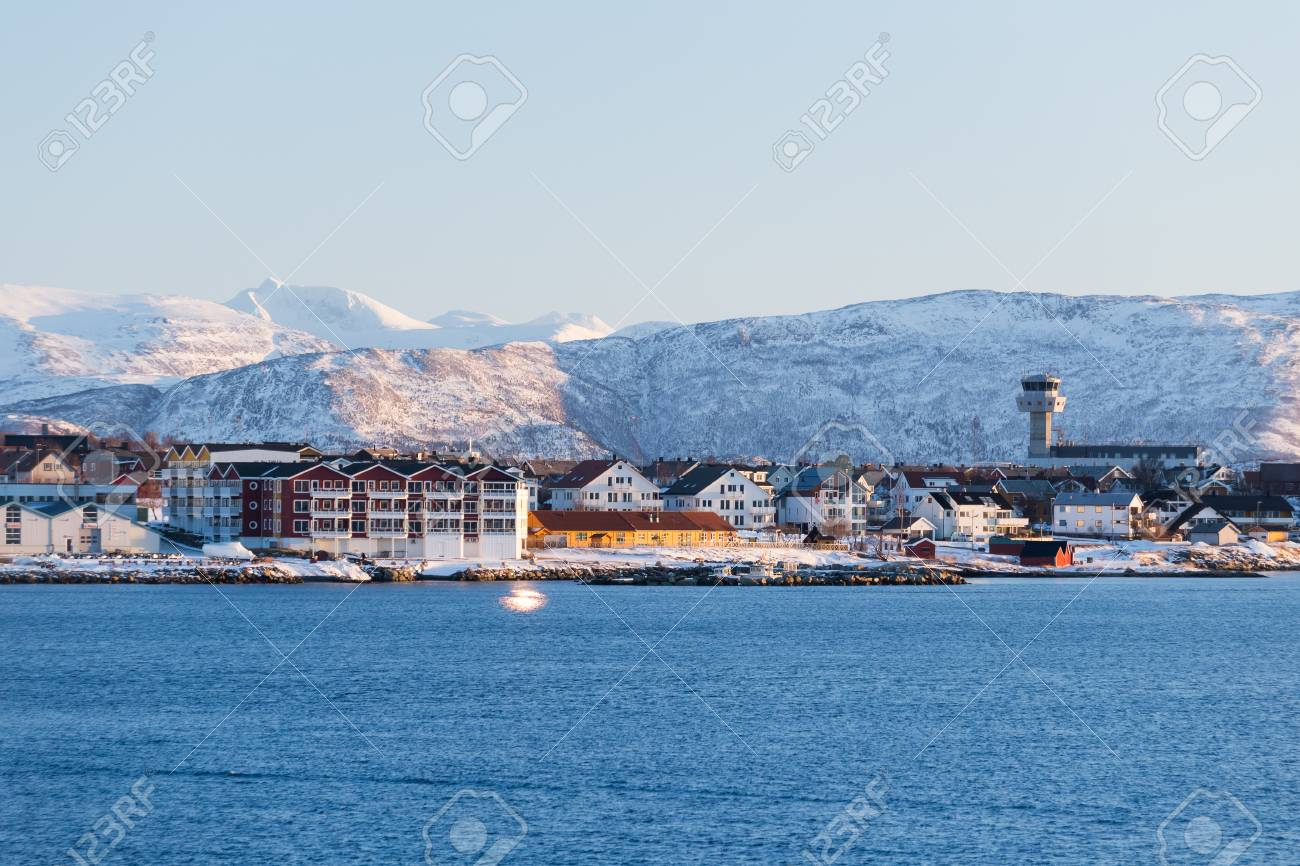 Evening mood over the city Bodo in Norway - 97701206
