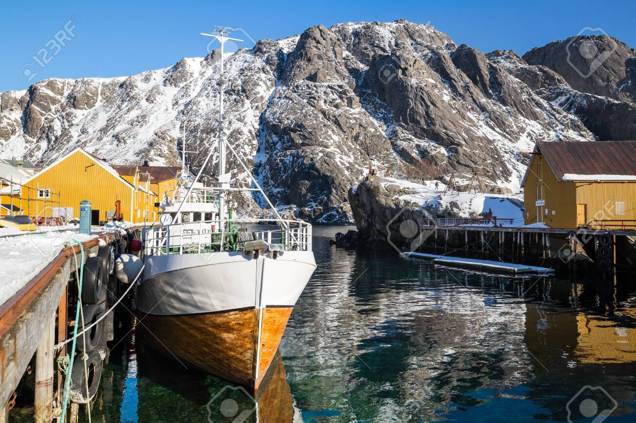 Little village Nusfjord on Lofoten islands during a sunny winter day - 133091832