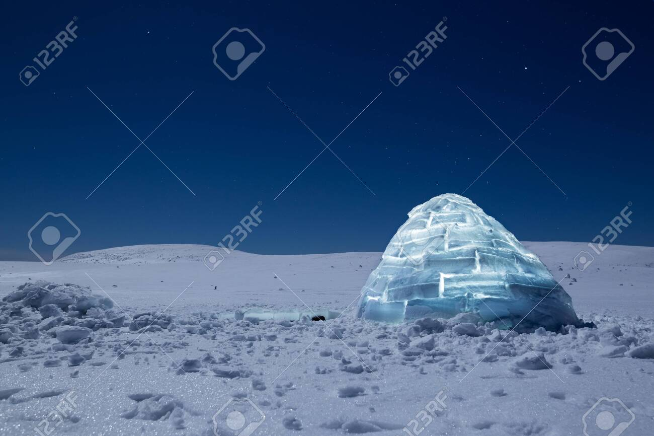 Iluminated igloo during a cold winter nights with bright moonshine - 131595491