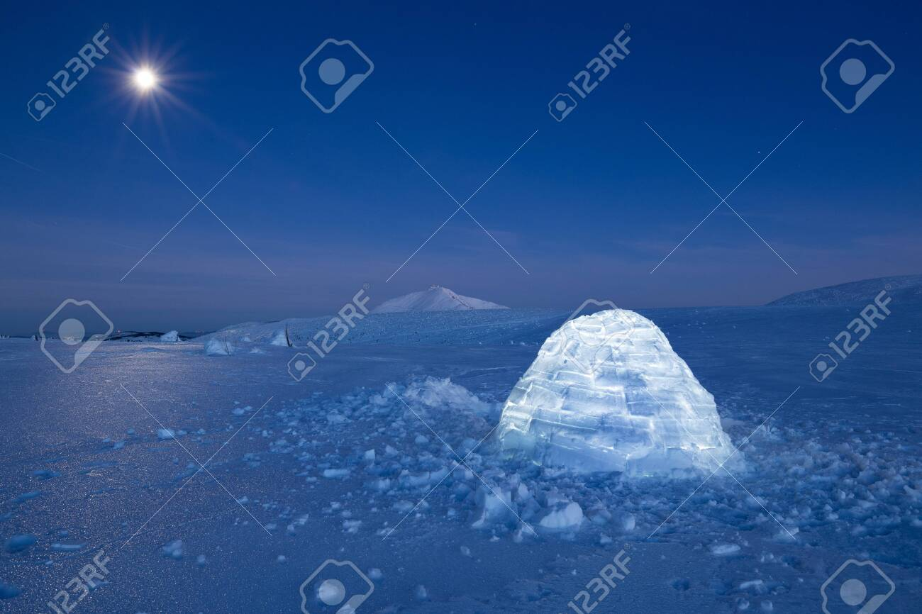 Iluminated igloo during a cold winter nights with bright moonshine - 133182068