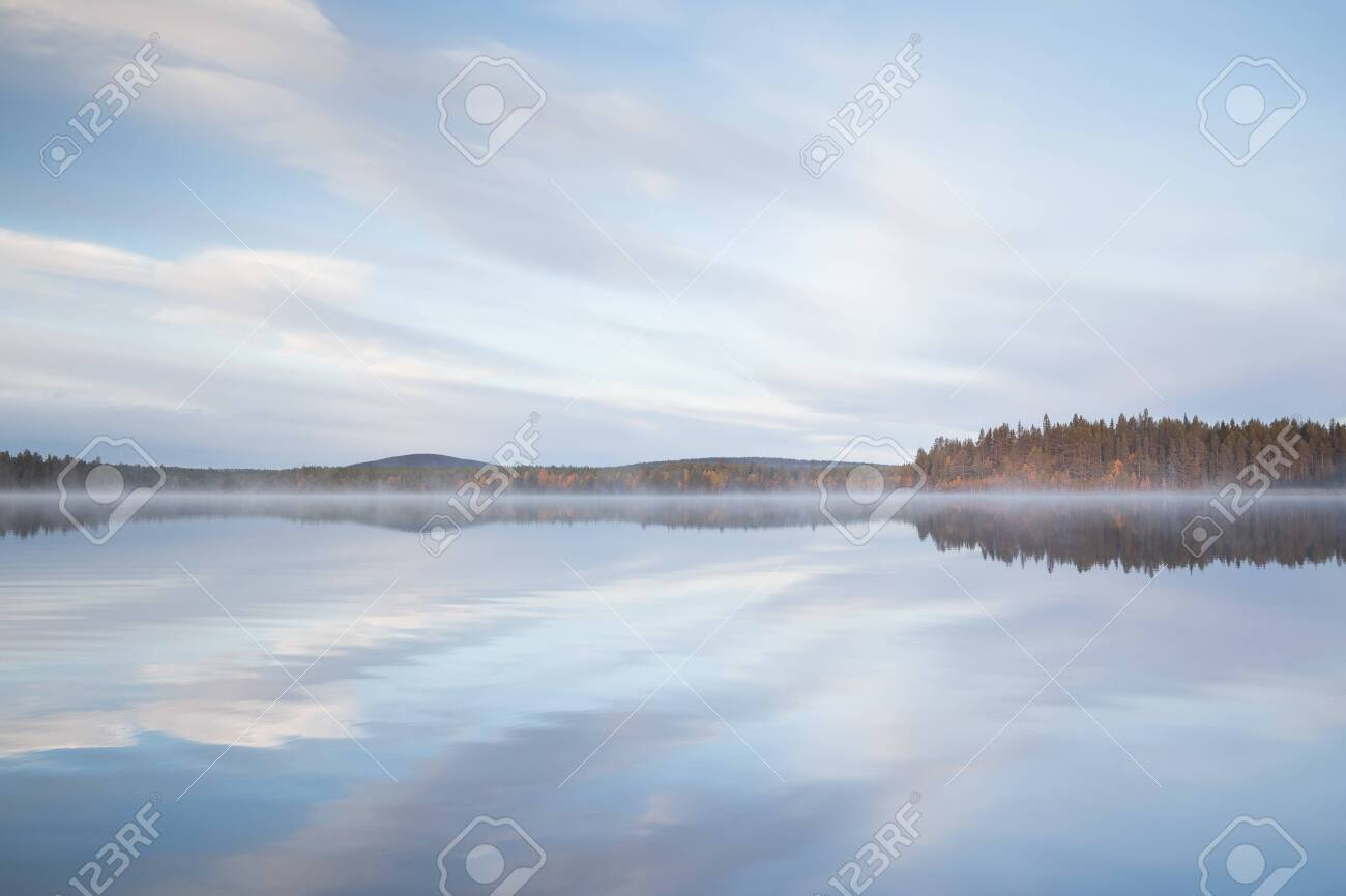 Autumnal lake scenery in Sweden during sunset - 131595460