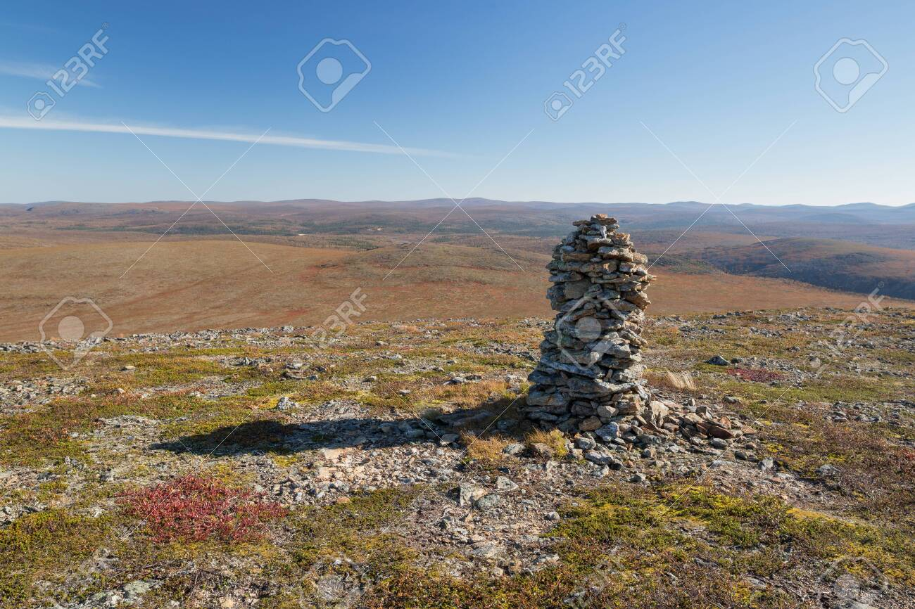 Autumn landscape over a mountain landscape in northern Finland - 133182173