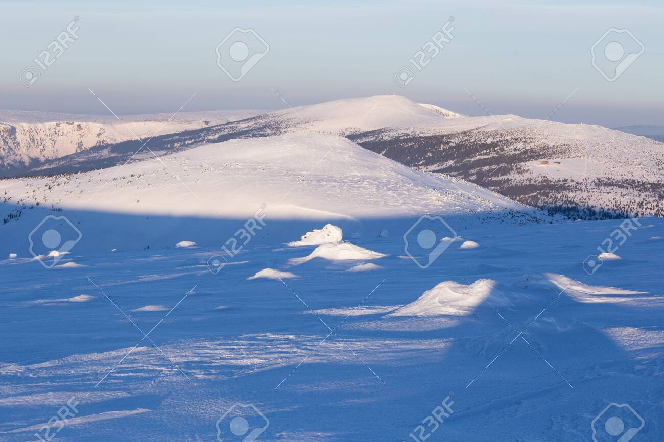 Landscape of the Giant mountains (Krkonose) in winter - 133182175