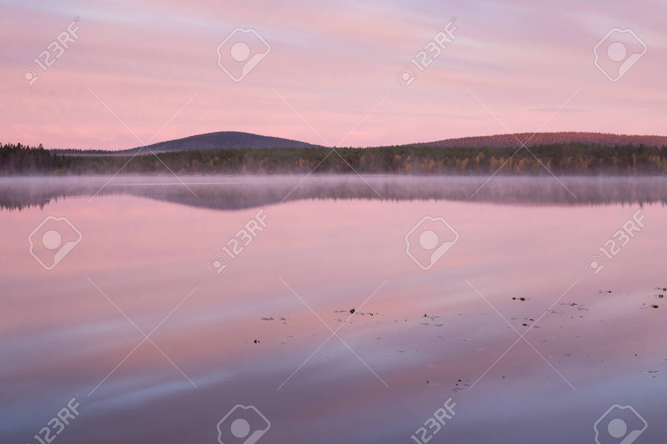 Autumnal lake scenery in Sweden during sunrise - 131597474