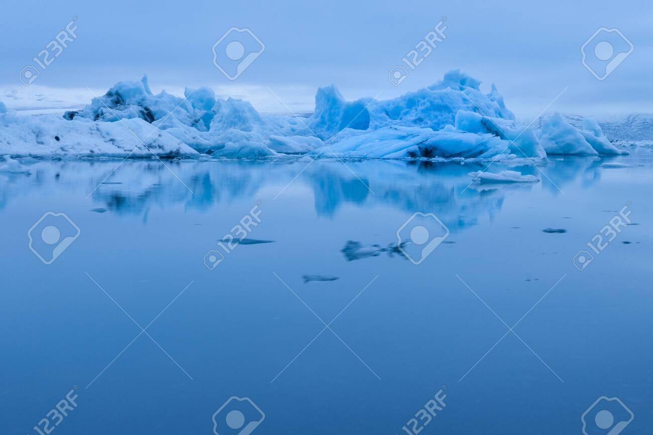 Evening mood at Jokulsarlon glacier lake in Iceland - 131597464