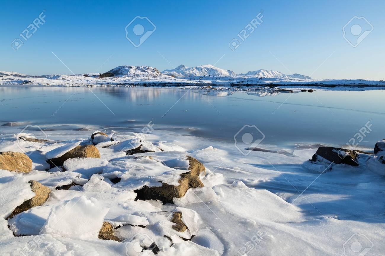 Beautiful Lofoten islands at a sunny winter day - 131598185