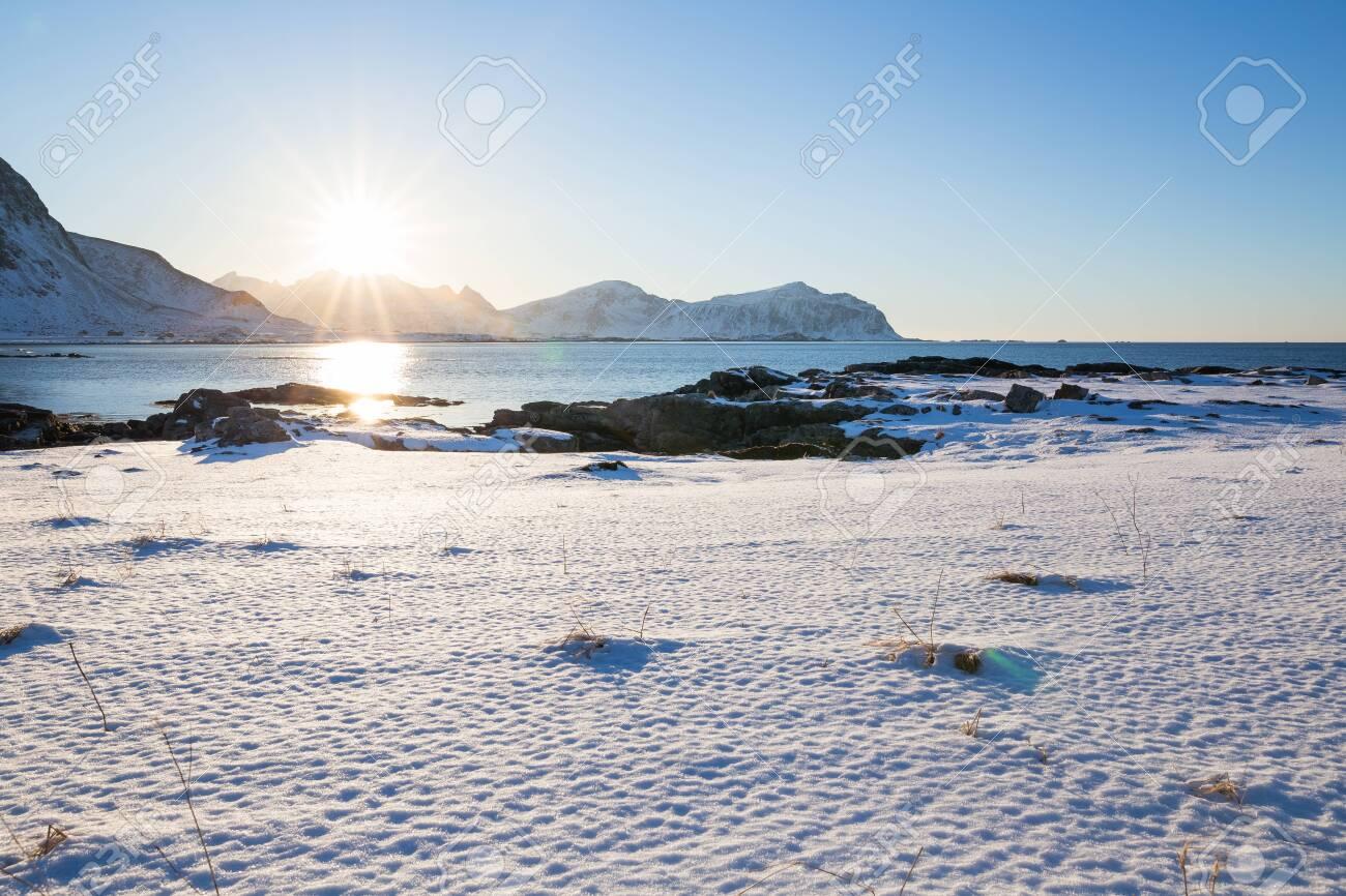 Evening mood at beautiful beach on Lofoten islands in winter - 131597408
