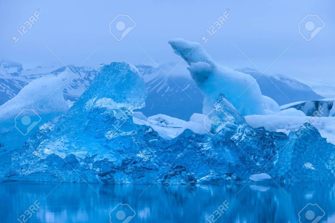 Evening mood at Jokulsarlon glacier lake in Iceland - 131598220