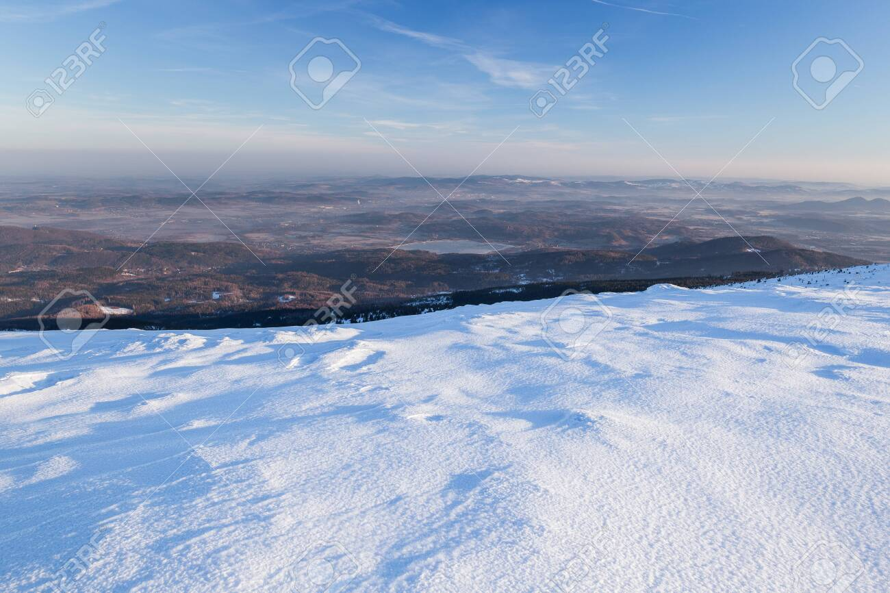 Landscape of the Giant mountains (Krkonose) in winter - 133036472