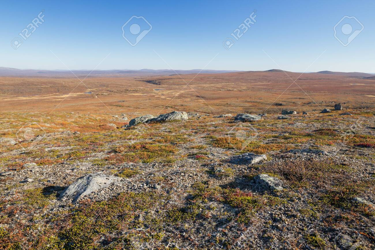Autumn landscape over a mountain landscape in northern Finland - 133036475