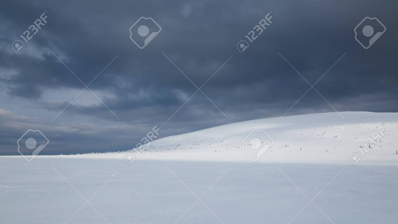 Winter landscape in Krkonose (Poland, Czech Republic) - 133036477
