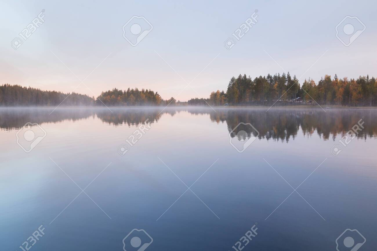 Autumnal lake scenery in Sweden during sunrise - 131607629