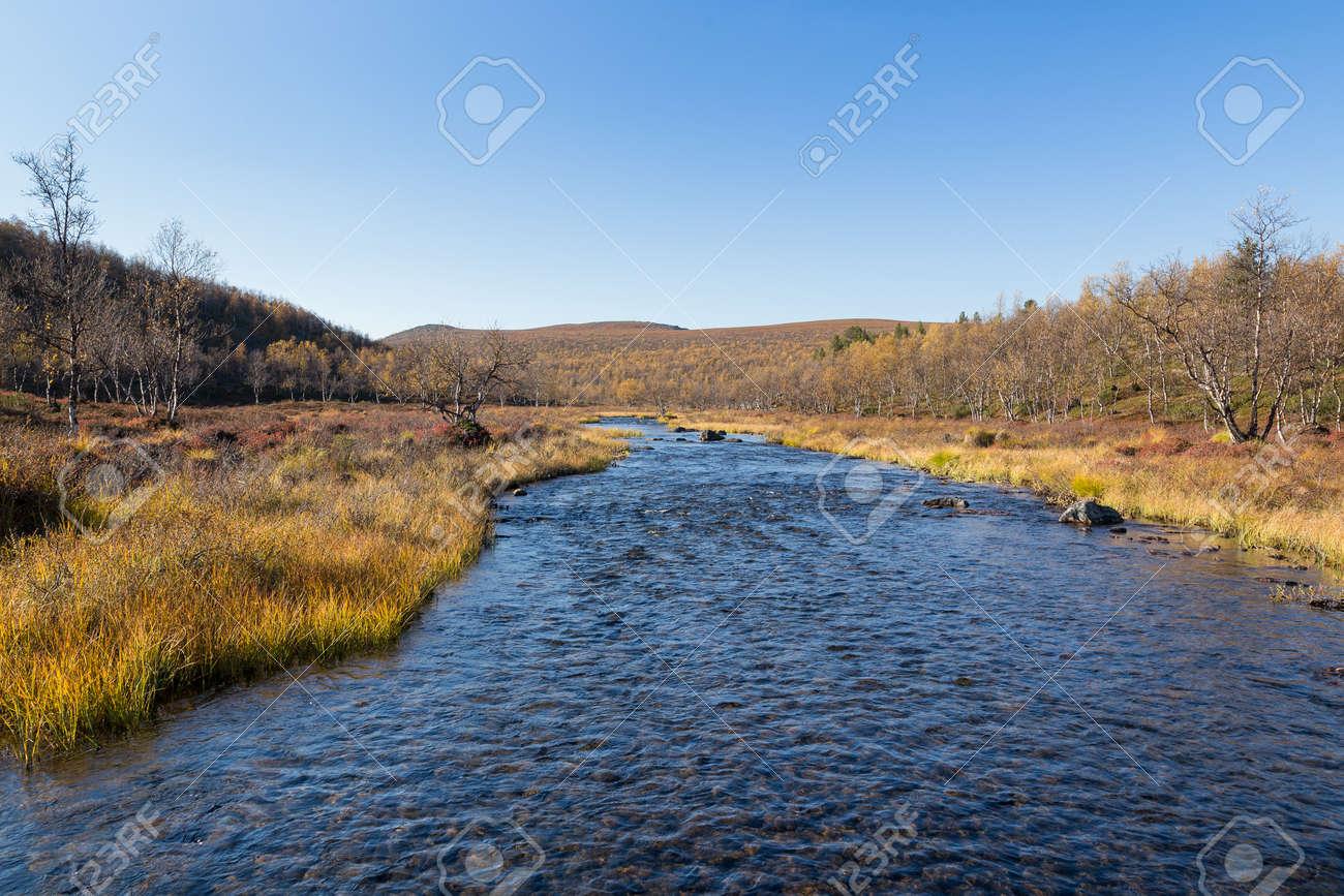 River landscape in Finland in autumn - 131607616