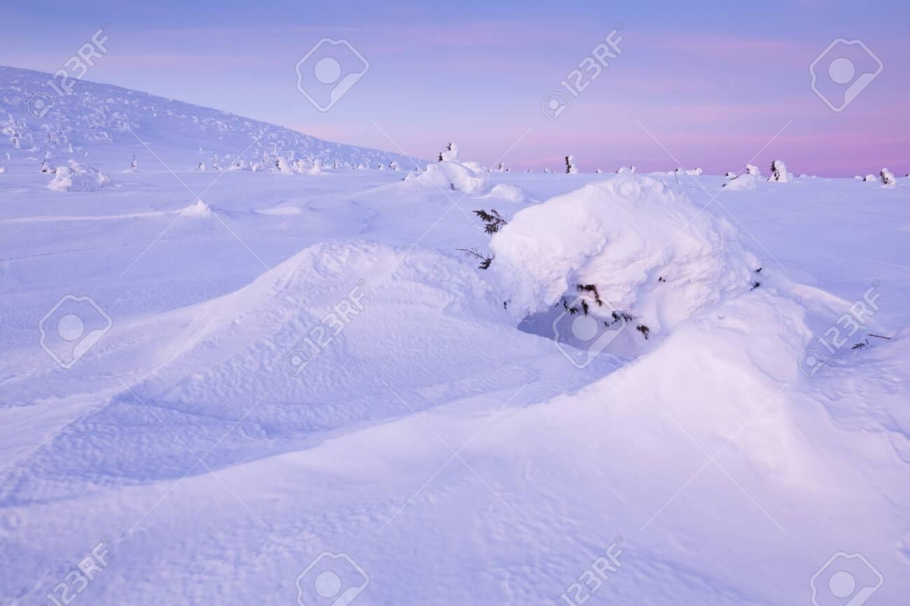 Morning mood in Krkonose (Czech Republic) in winter - 133036482