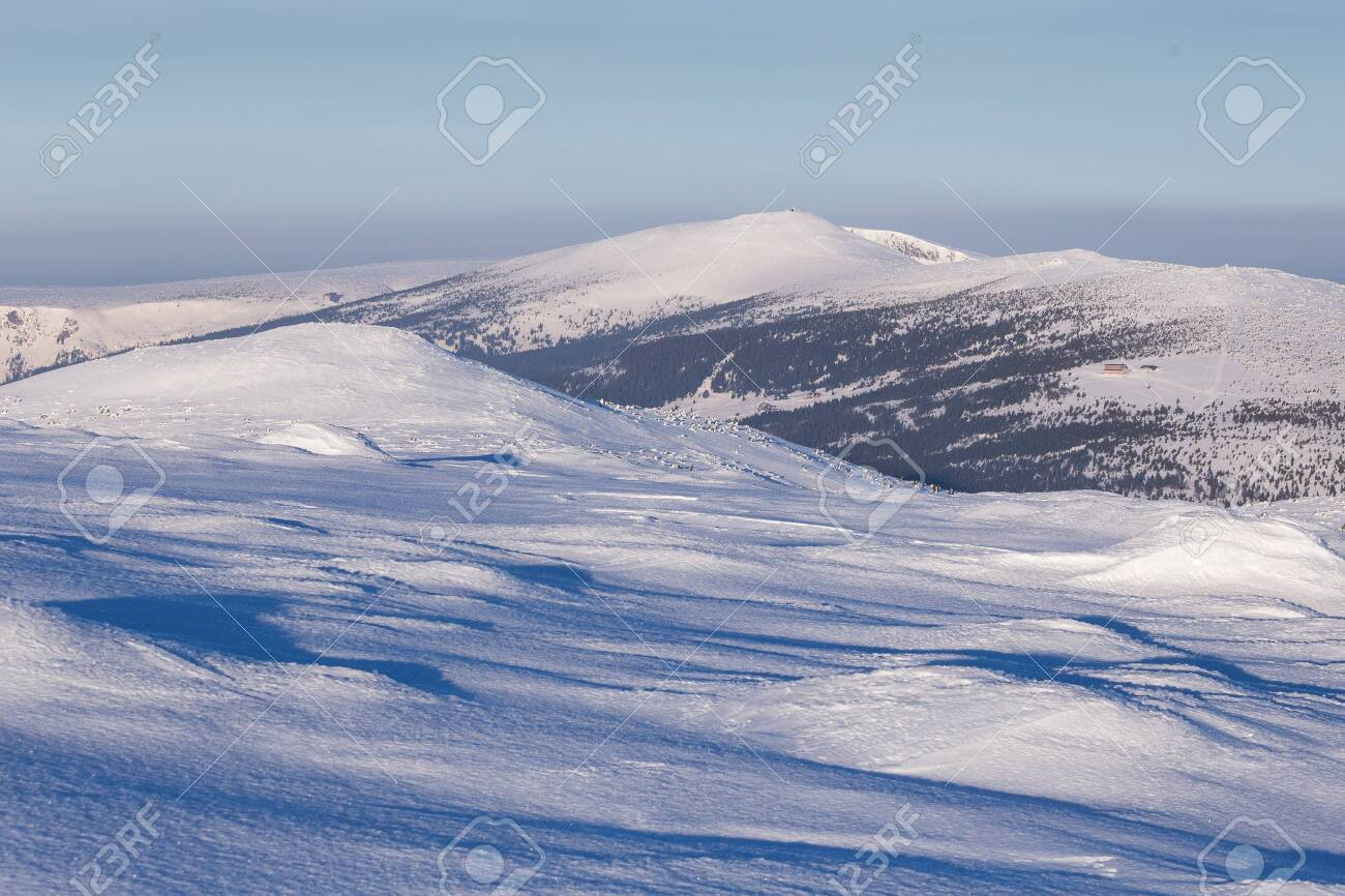Landscape of the Giant mountains (Krkonose) in winter - 131595836