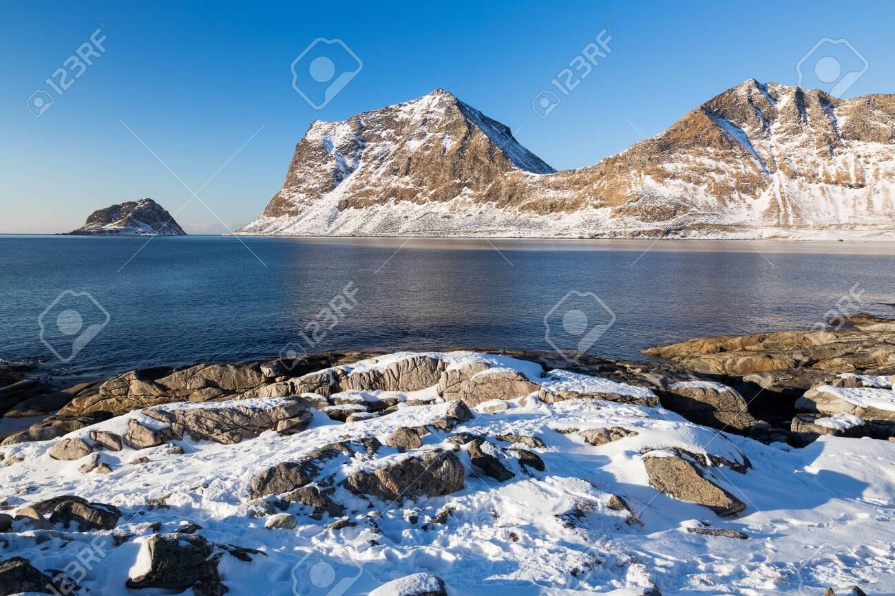 Haukland beach on Lofoten islands in Norway in winter - 131595983