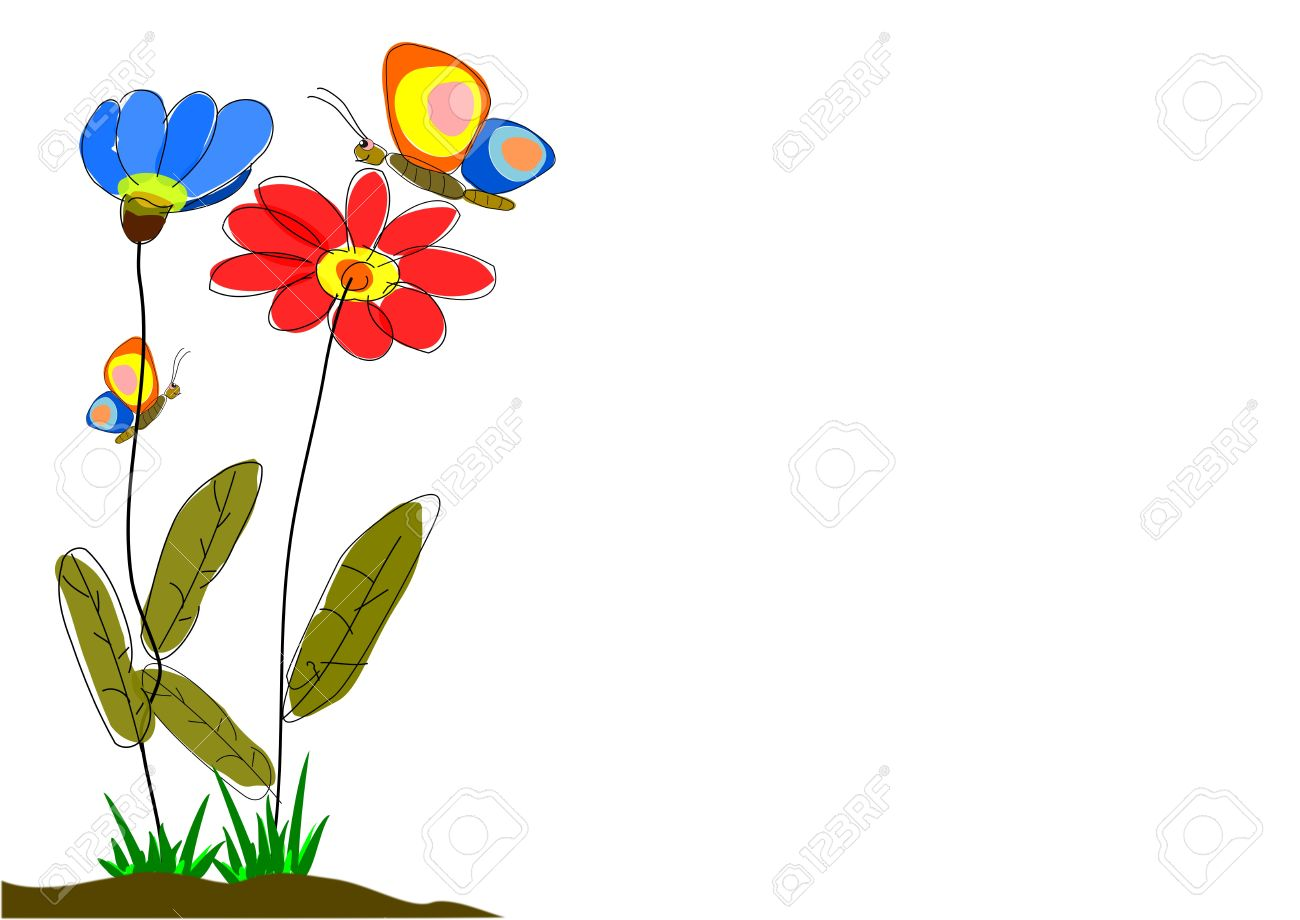 Spring Flowers With Butterflies Greeting Card Or Background