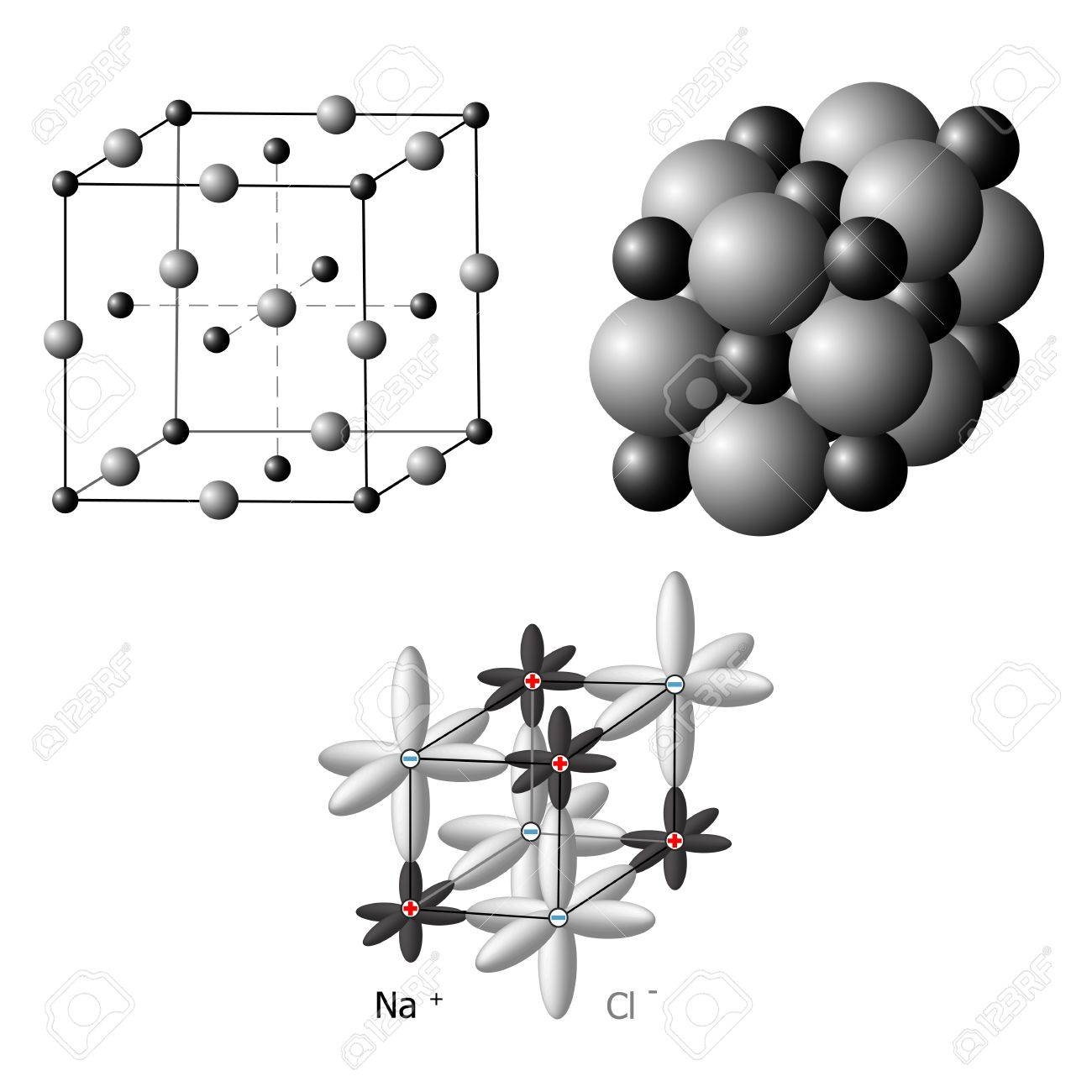 Illustration Of An Ionic Crystal Structure Of Sodium Chloride