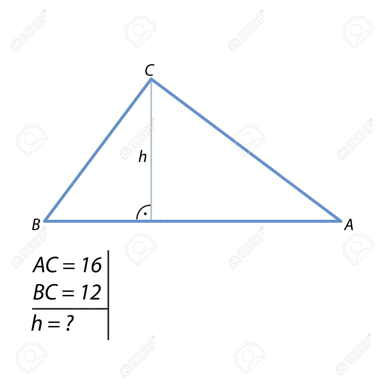 The Problem Of Calculating The Height Of A Triangle Royalty Free