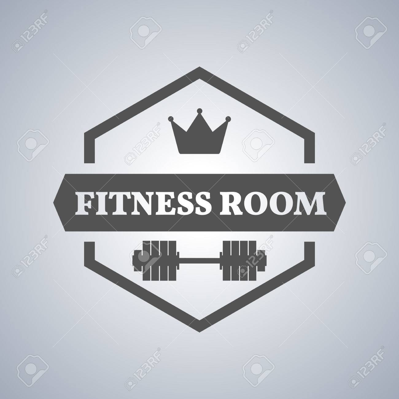 Grey sports emblem logo label for a fitness club a gym a