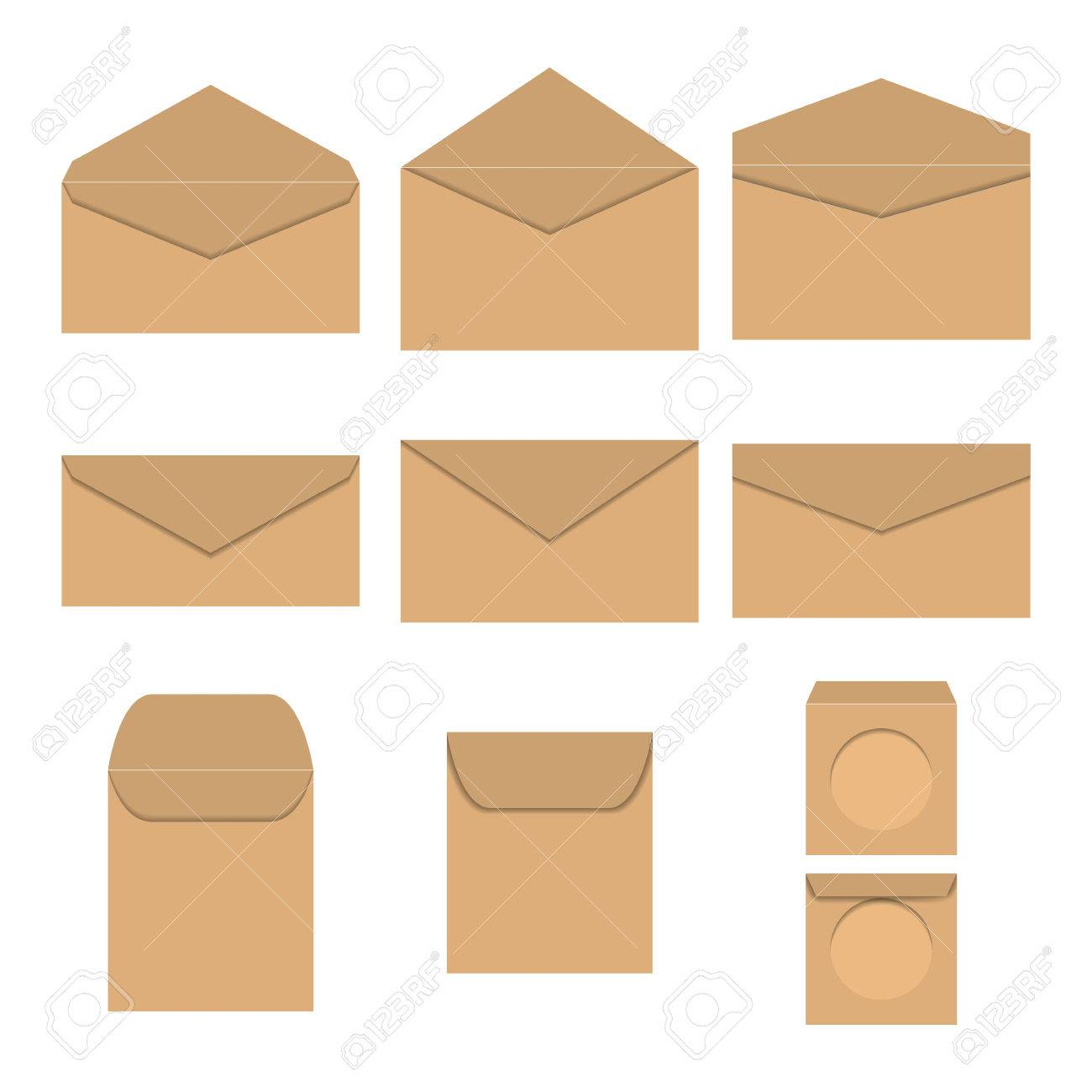 Häufig Legen Braune Papierumschläge Unterschiedlicher Form Und Größe DK66