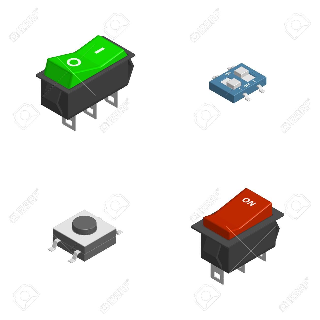 Satz Verschiedene Elektrische Knöpfe Und Schalter Lokalisiert Auf ...