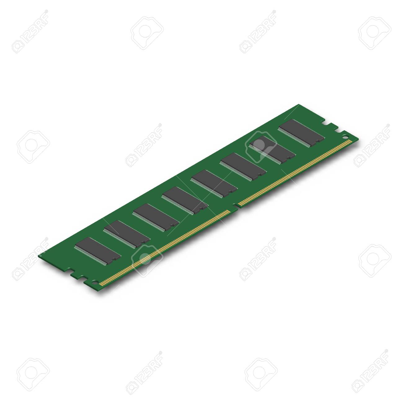 RAM module, isolated on white background. Element for the design of digital devices and computer accessories. 3D isometric style, vector illustration. - 90411704