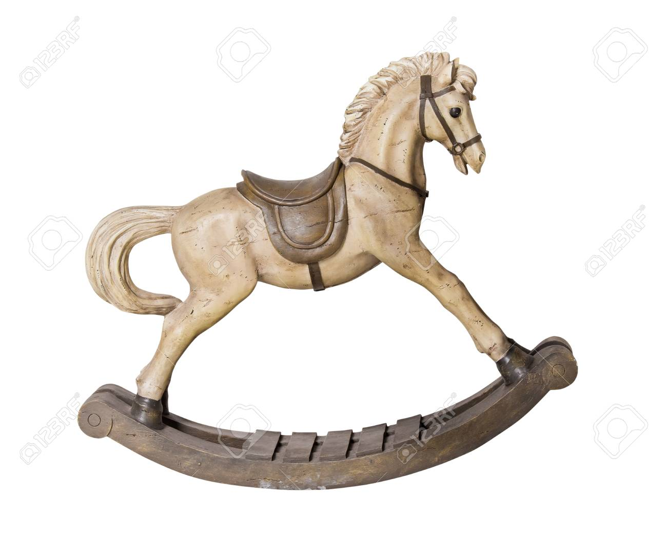 Vintage Wooden Rocking Horse Toy Isolated On White Background Stock Photo Picture And Royalty Free Image Image 112661925