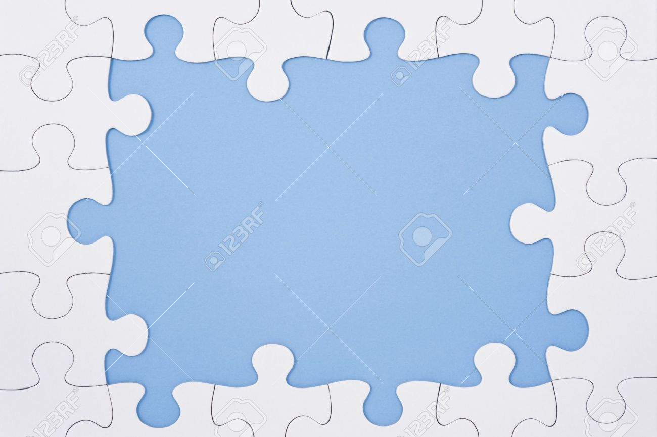 Jigsaw Puzzle Frame On Blue Background, High Angle View Stock Photo ...