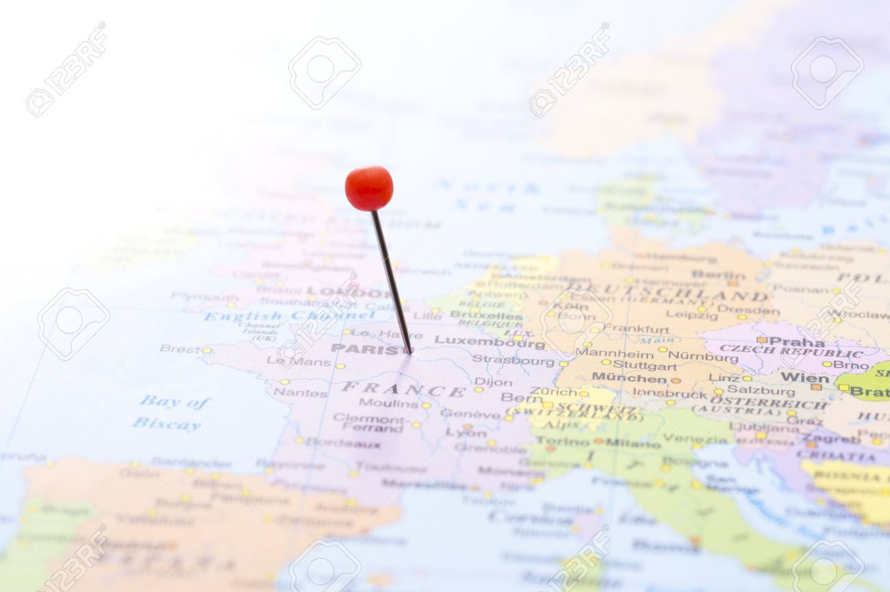 To Mark Paris On World Map At Red Pin Stock Photo, Picture And ...